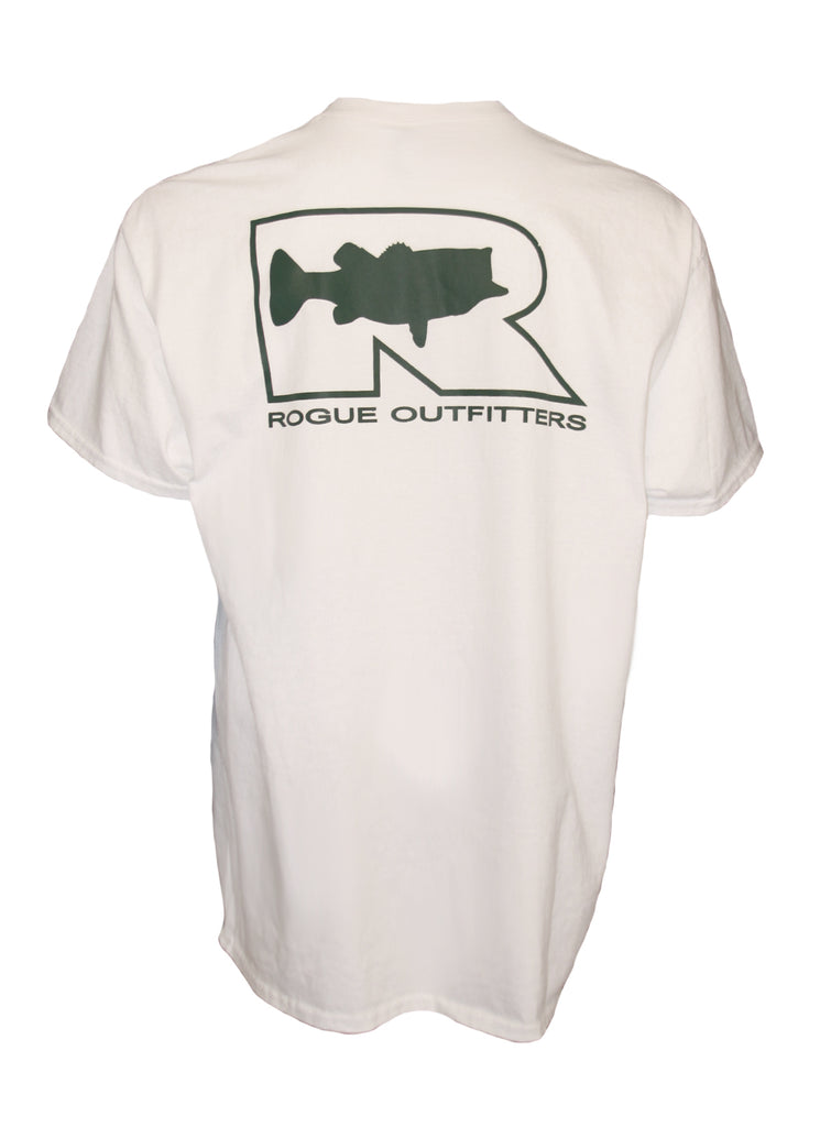 Rogue Bass Logo SS T-Shirt - White/Forest Green