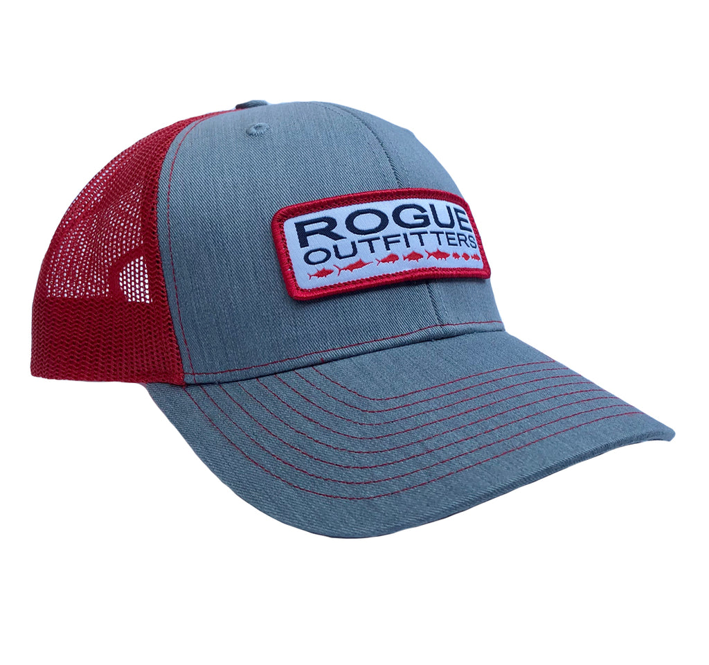 Rogue Outfitters Offshore-to-Inshore Trucker Hat (Red and Heather Grey)