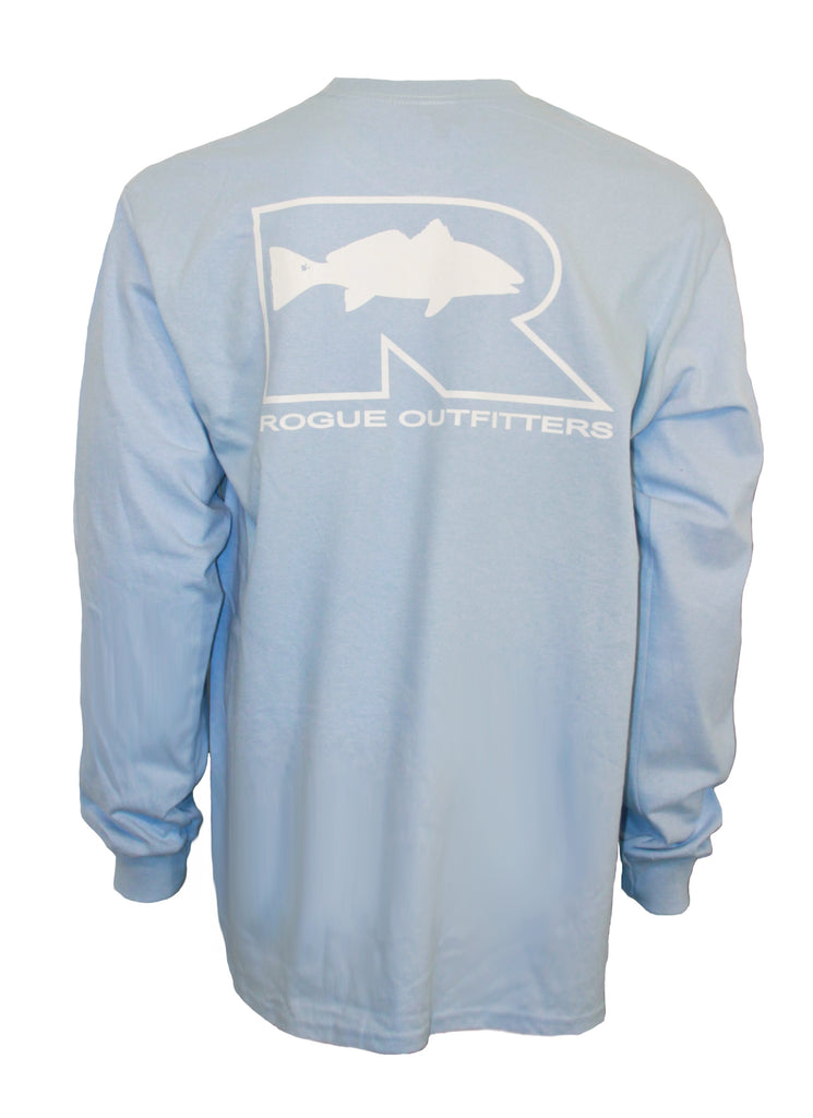 Rogue Redfish Logo LS T-Shirt - Sky Blue/White