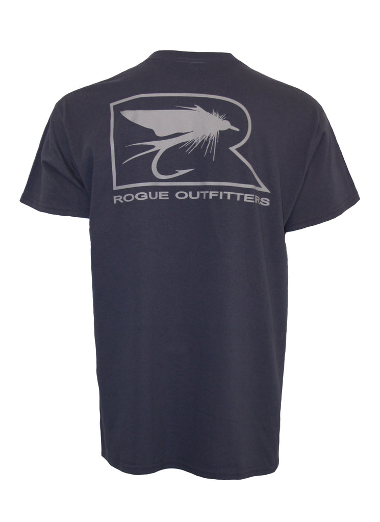 Rogue Fly Logo SS T-Shirt - Stone Blue / Grey