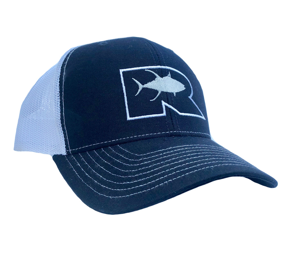 Rogue Outline Tuna Trucker Hat - Navy/White