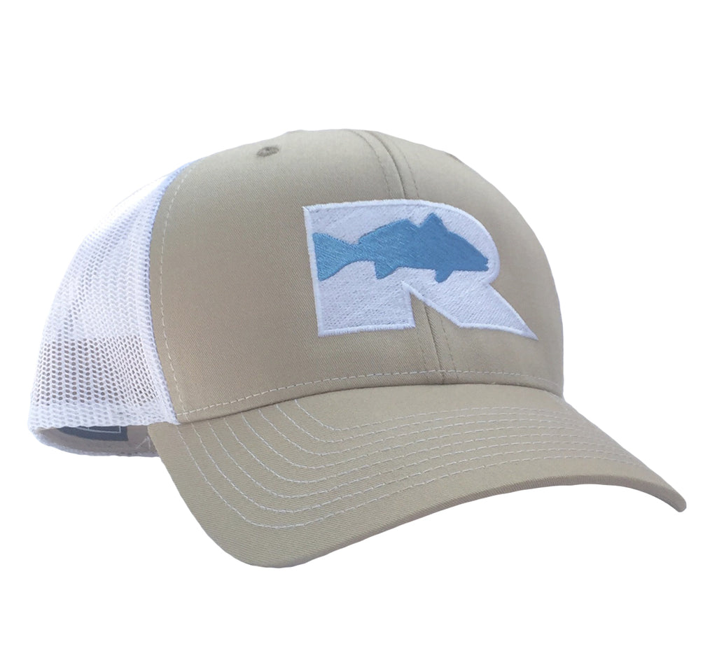 Rogue Redfish Trucker Hat - Khaki/White