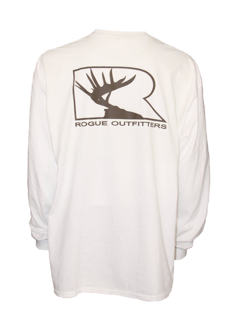 Rogue Outfitters Deer Logo LS Tee - White/Chocolate