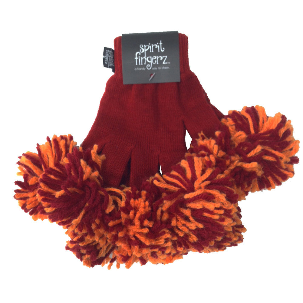 Cardinal & Light Orange Spirit Fingerz Cheerleading Pom-Pom Gloves