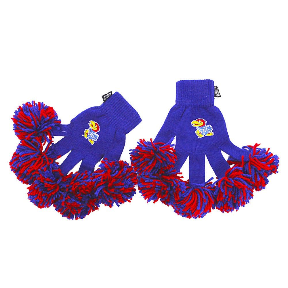 Kansas Jayhawks NCAA Spirit Fingerz Cheerleading Pom-Pom Gloves