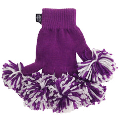 Purple & White Spirit Fingerz Cheerleading Pom-Pom Gloves