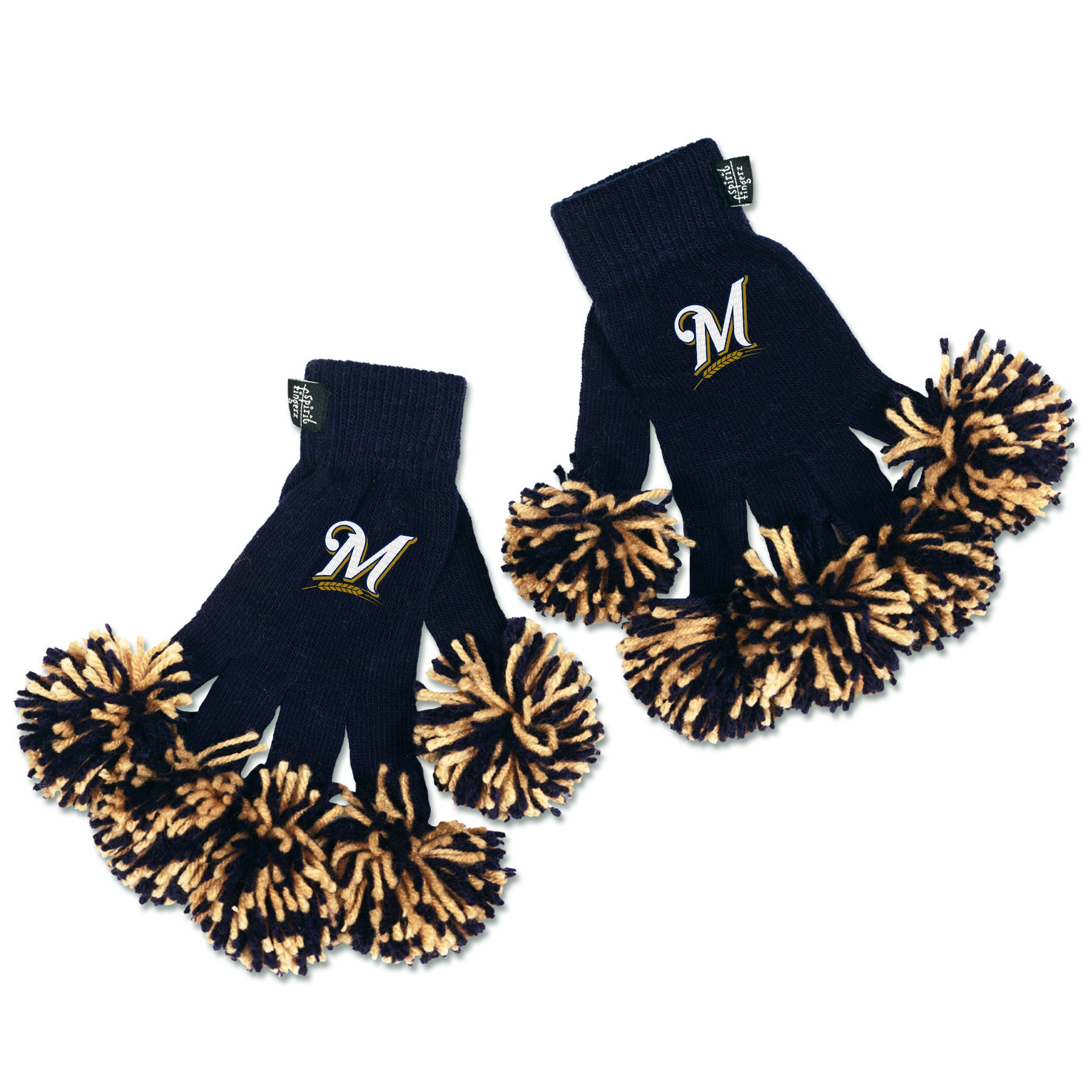 Milwaukee Brewers MLB Spirit Fingerz Cheerleading Pom-Pom Gloves