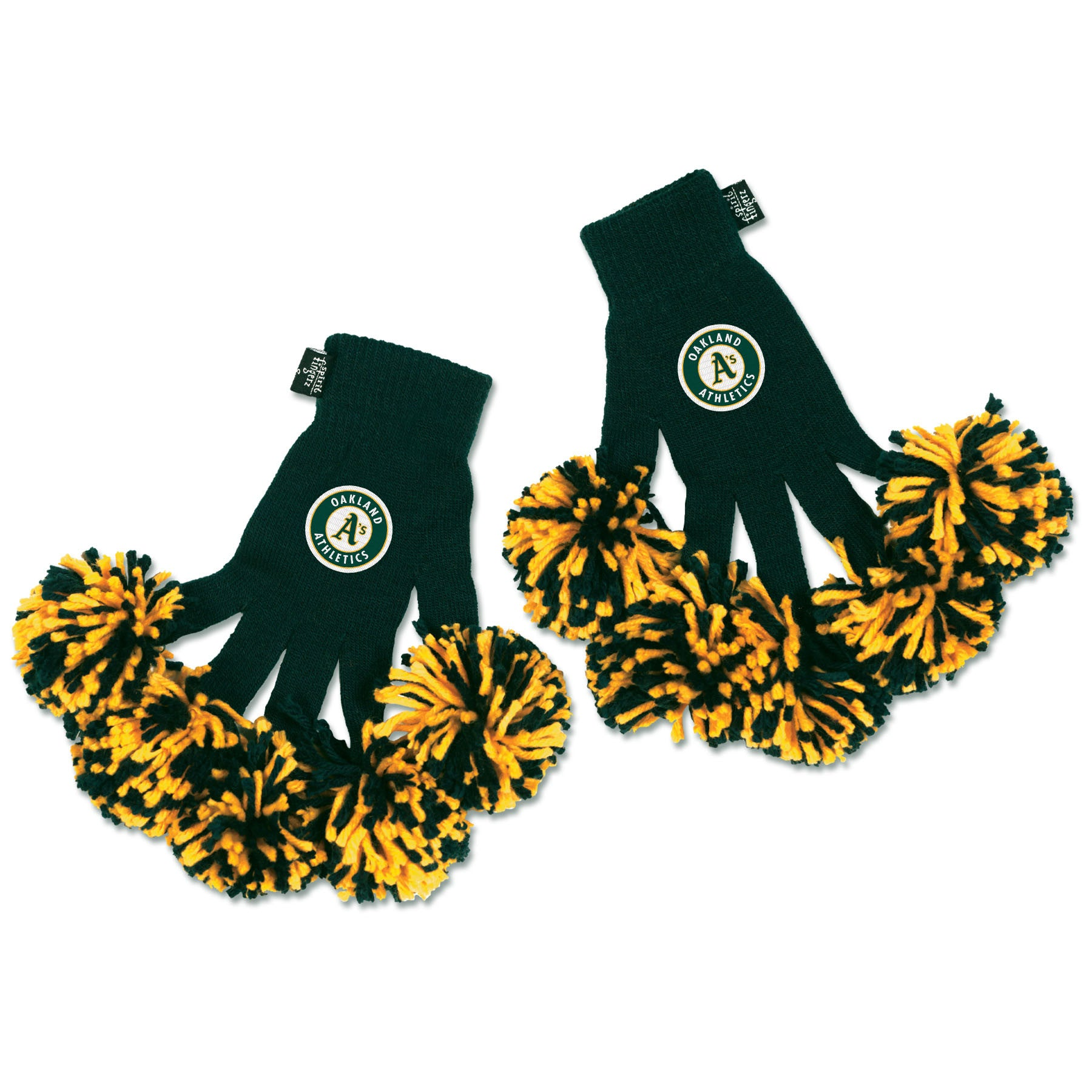Oakland Athletics MLB Spirit Fingerz Cheerleading Pom-Pom Gloves