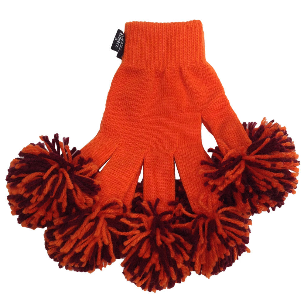 Orange & Maroon Spirit Fingerz Cheerleading Pom-Pom Gloves