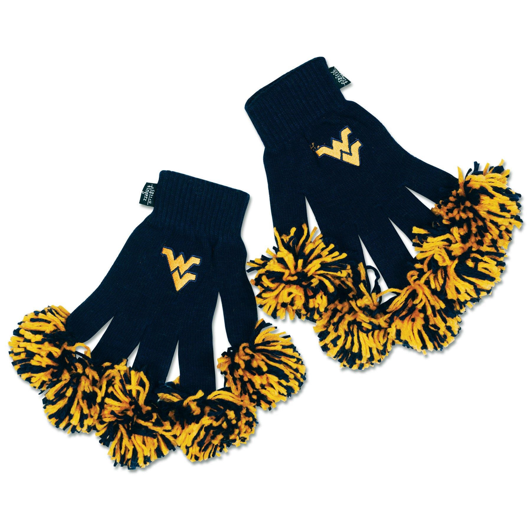 West Virginia Mountaineers NCAA Spirit Fingerz Cheerleading Pom-Pom Gloves