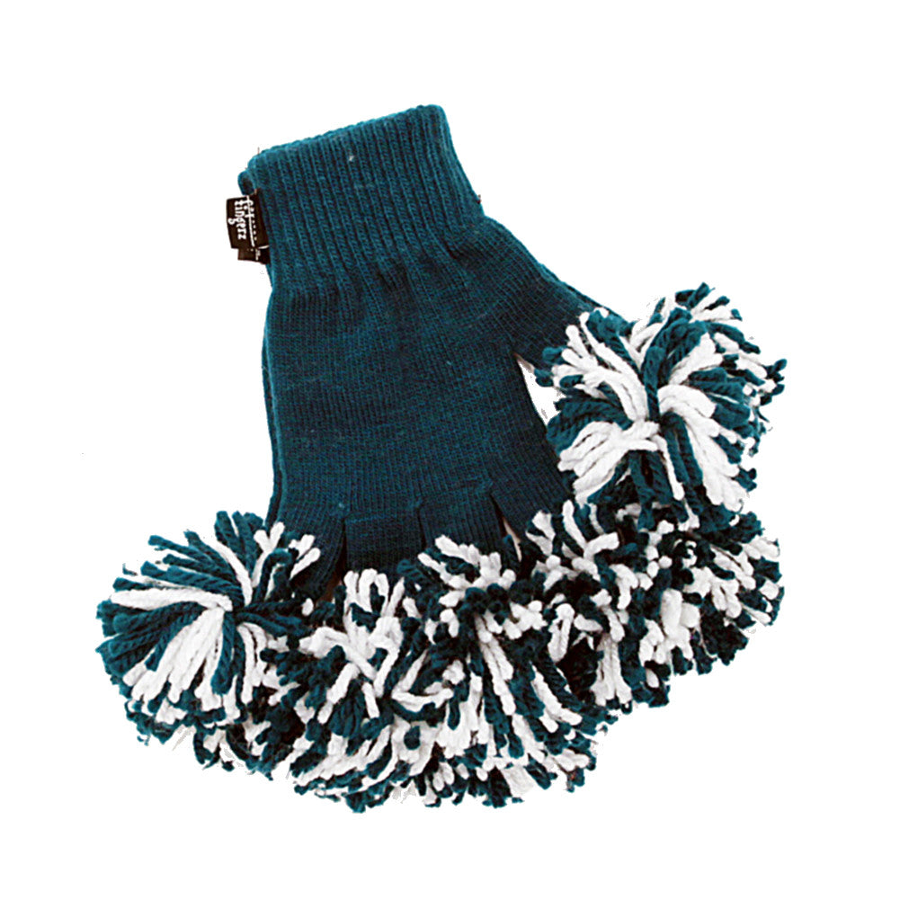 Aqua & White Spirit Fingerz Cheerleading Pom-Pom Gloves
