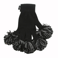 Black & Charcoal Spirit Fingerz Cheerleading Pom-Pom Gloves