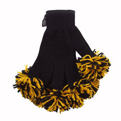 Black & Gold Spirit Fingerz Cheerleading Pom-Pom Gloves