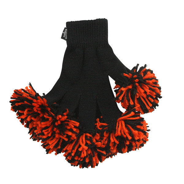 Black & Orange Spirit Fingerz Cheerleading Pom-Pom Gloves