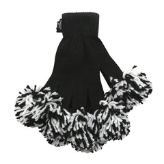 Black & White Spirit Fingerz Cheerleading Pom-Pom Gloves
