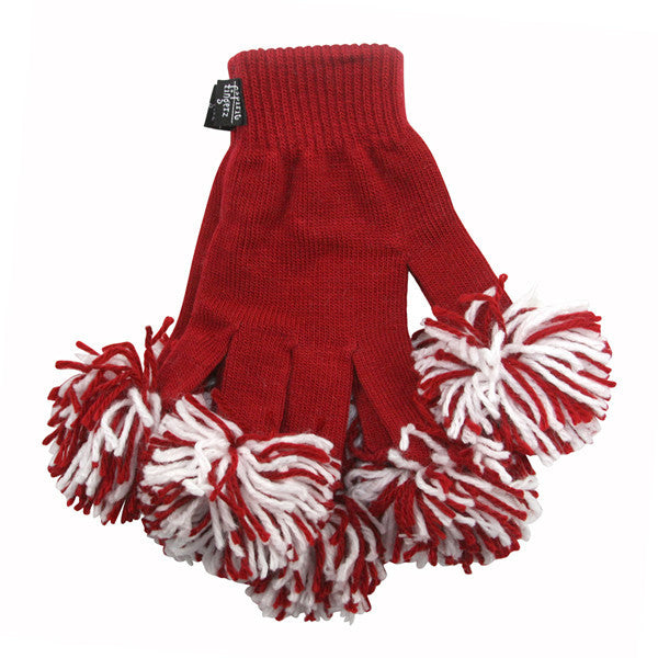 Cardinal & White Spirit Fingerz Cheerleading Pom-Pom Gloves