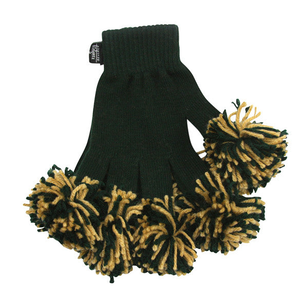 Dark Green & Vegas Gold Spirit Fingerz Cheerleading Pom-Pom Gloves
