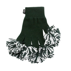 Dark Green & White Spirit Fingerz Cheerleading Pom-Pom Gloves