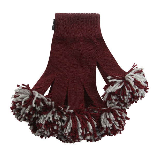 Maroon & Ash Spirit Fingerz Cheerleading Pom-Pom Gloves