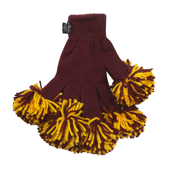Maroon & Gold Spirit Fingerz Cheerleading Pom-Pom Gloves