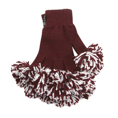 Maroon & White Spirit Fingerz Cheerleading Pom-Pom Gloves