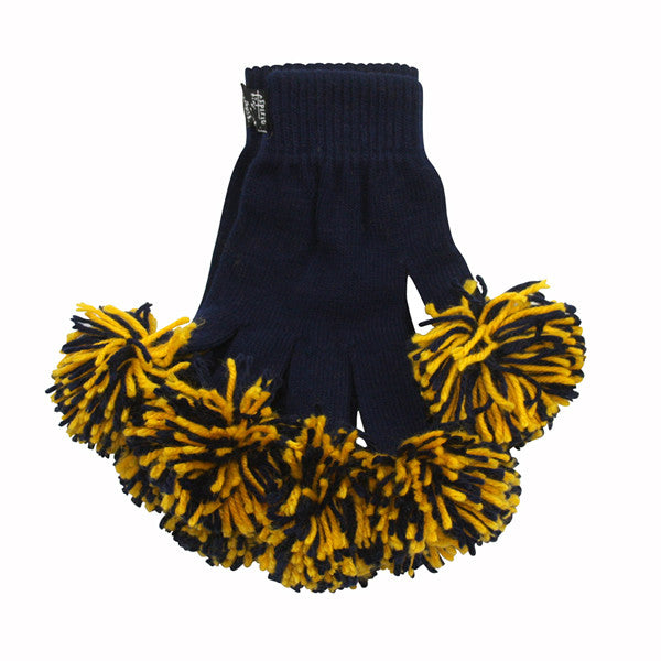 Navy & Gold Spirit Fingerz Cheerleading Pom-Pom Gloves