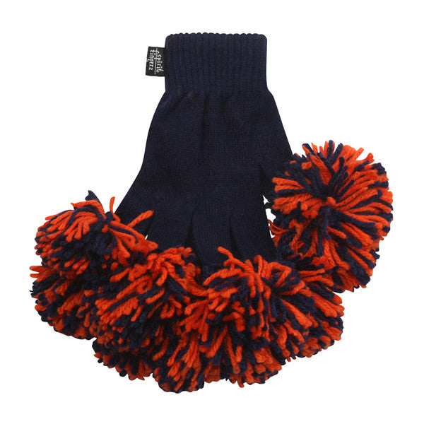 Navy & Orange Spirit Fingerz Cheerleading Pom-Pom Gloves