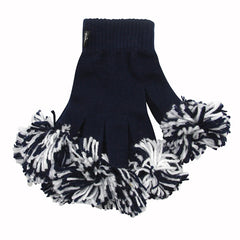 Navy & White Spirit Fingerz Cheerleading Pom-Pom Gloves