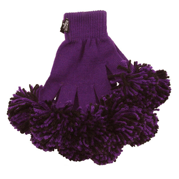 Purple & Black Spirit Fingerz Cheerleading Pom-Pom Gloves