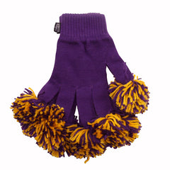 Purple & Gold Spirit Fingerz Cheerleading Pom-Pom Gloves