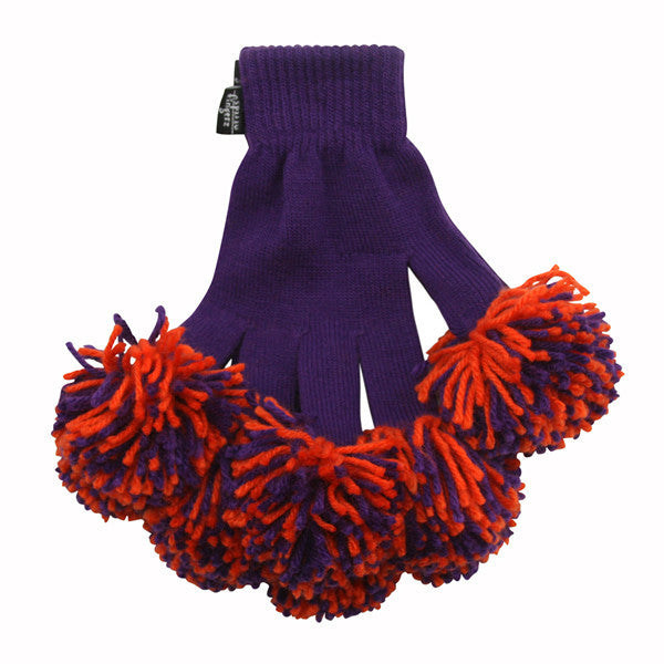 Purple & Orange Spirit Fingerz Cheerleading Pom-Pom Gloves