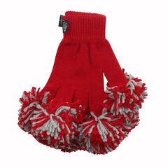 Red & Ash Spirit Fingerz Cheerleading Pom-Pom Gloves