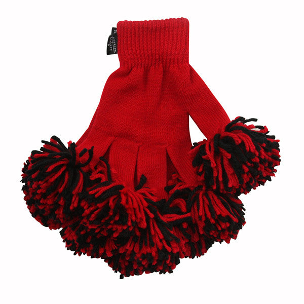 Red & Black Spirit Fingerz Cheerleading Pom-Pom Gloves