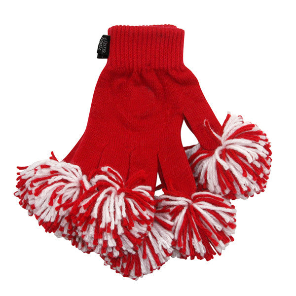 Red & White Spirit Fingerz Cheerleading Pom-Pom Gloves