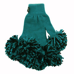Teal & Black Spirit Fingerz Cheerleading Pom-Pom Gloves