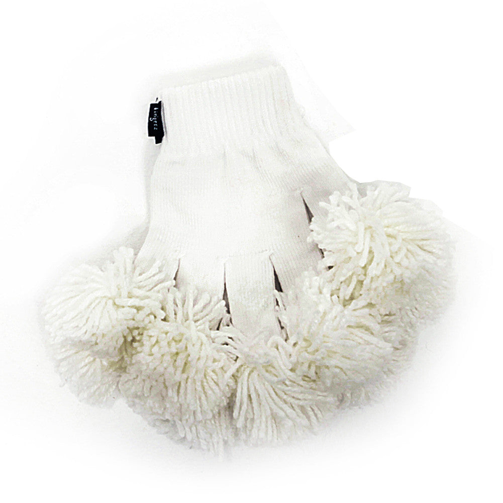 White & White Spirit Fingerz Cheerleading Pom-Pom Gloves