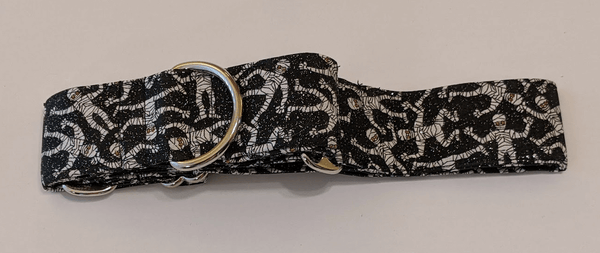Collar-Martingale Collar for Greyhounds - Spooky Mummy (Black and White)
