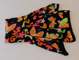 Snoodle-Polar Fleece Snoodle for Greyhounds - Butterfly/Floral Pattern (Black, Orange, Pink)