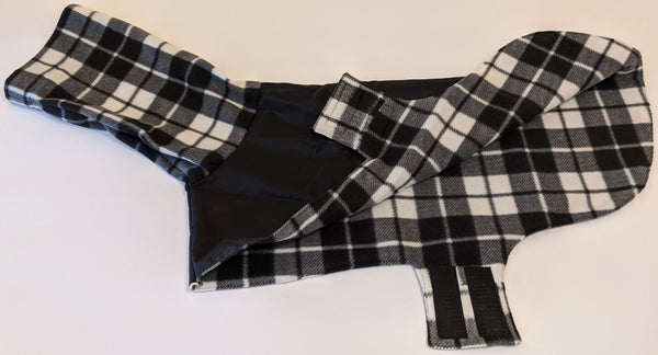 Coat-Coat for Greyhounds - Black w/Plaid (Black and White)