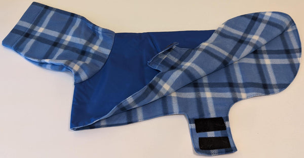 Coat for Greyhounds - Plaid (Blue and White)