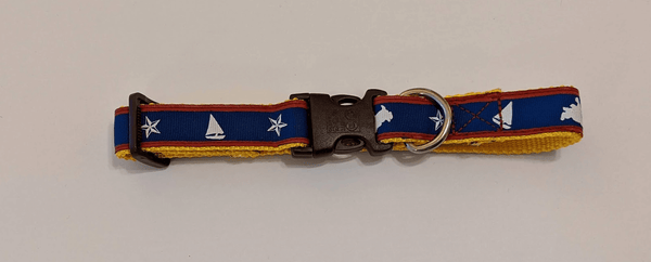 Dog Collar -  Stars and Boats (Blue, White, Red, and Yellow)