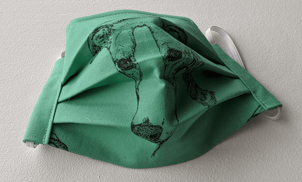 Covid mask for Adults - hound portrait (green)