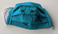 Covid mask for Adults - hound portrait (teal blue)