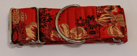 Martingale Collar for Greyhounds - Silk Orchid (Red, Gold, Black)