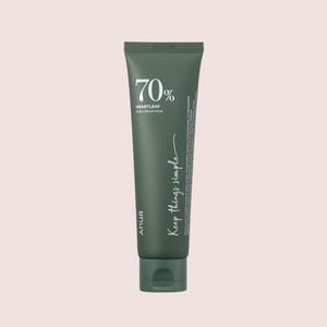 dark green tube that says brand name anua and 70% heartleaf mild cream mask