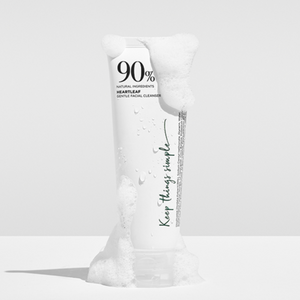 Heartleaf gentle cleanser in white tube covered in foam