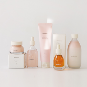 Aromtica reviving rose infusion full set including toner, cleanser, cream, face oil, and serum.