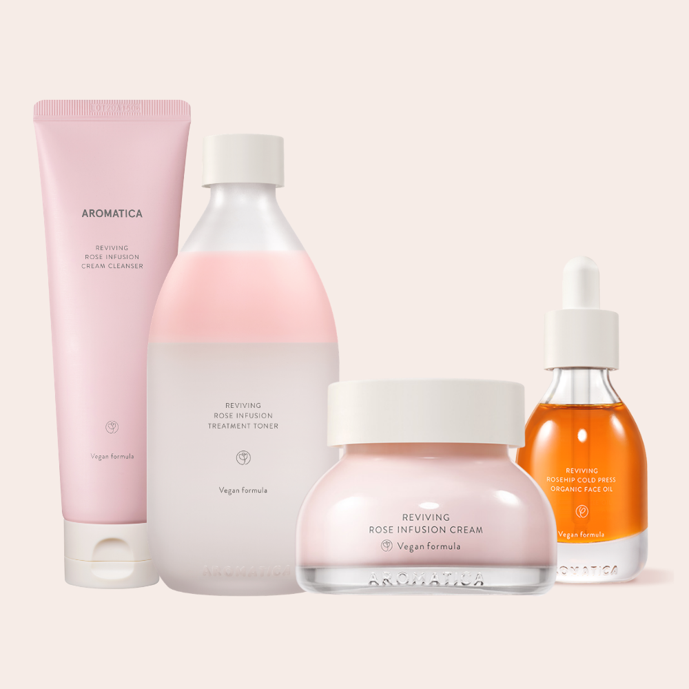 Aromatica's pink rose infusion line including cleanser, toner, oil, and cream