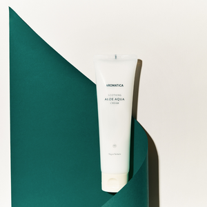 Aromatica soothing aloe aqua cream in tube with green and white background
