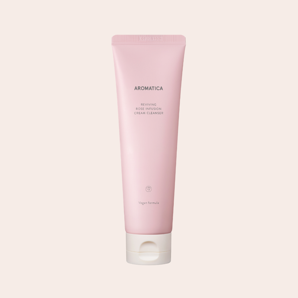 Light pink tube packaging of Aromatica Reviving Rose Infusion Cream Cleanser